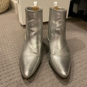 ♦️ Forever 21 silver cowgirl boots